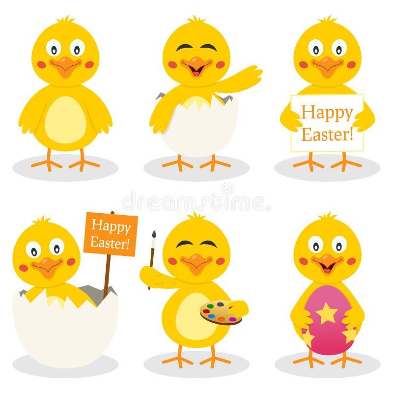 动画片复活节逗人喜爱的小鸡集合 库存例证