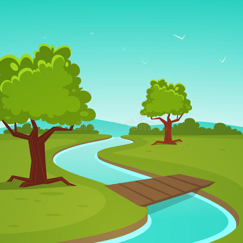 动画片夏天风景 向量例证