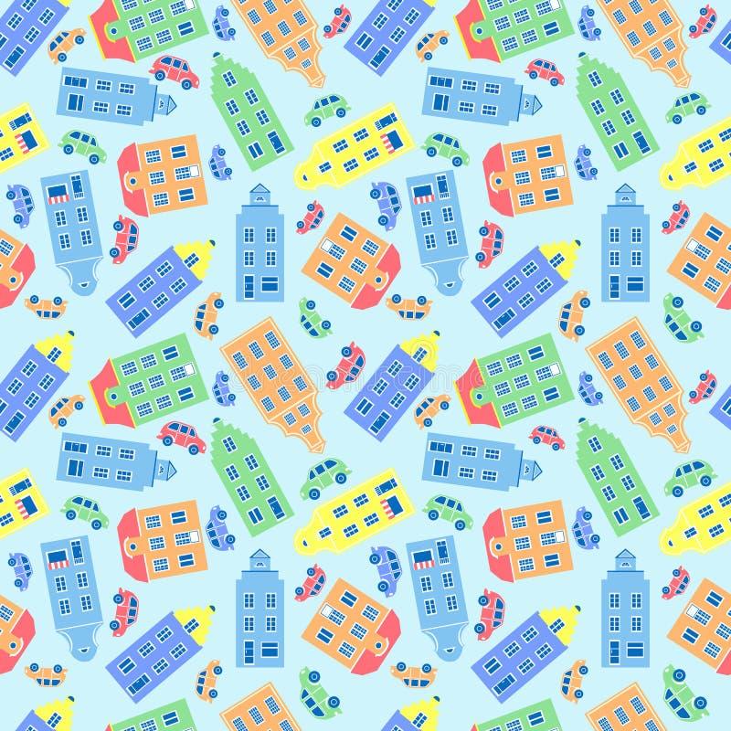 动画片大厦,装饰无缝的传染媒介样式,市民房子五颜六色的门面,五颜六色的汽车,纹理 皇族释放例证