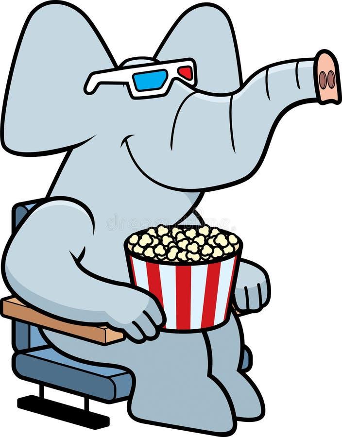 动画片大象3D电影 向量例证