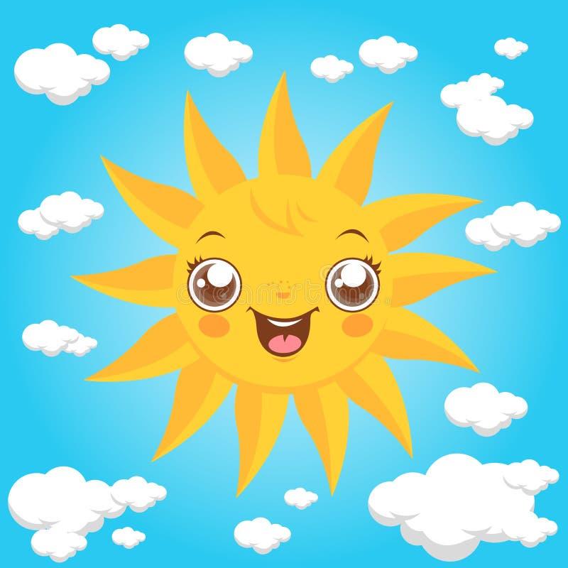 动画片太阳和云彩 向量例证