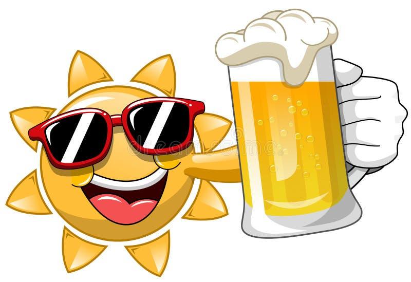 动画片太阳饮用的啤酒 库存例证