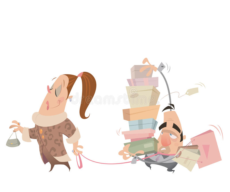 动画片夫妇有购物的妇女有鞭子运载的丈夫 向量例证