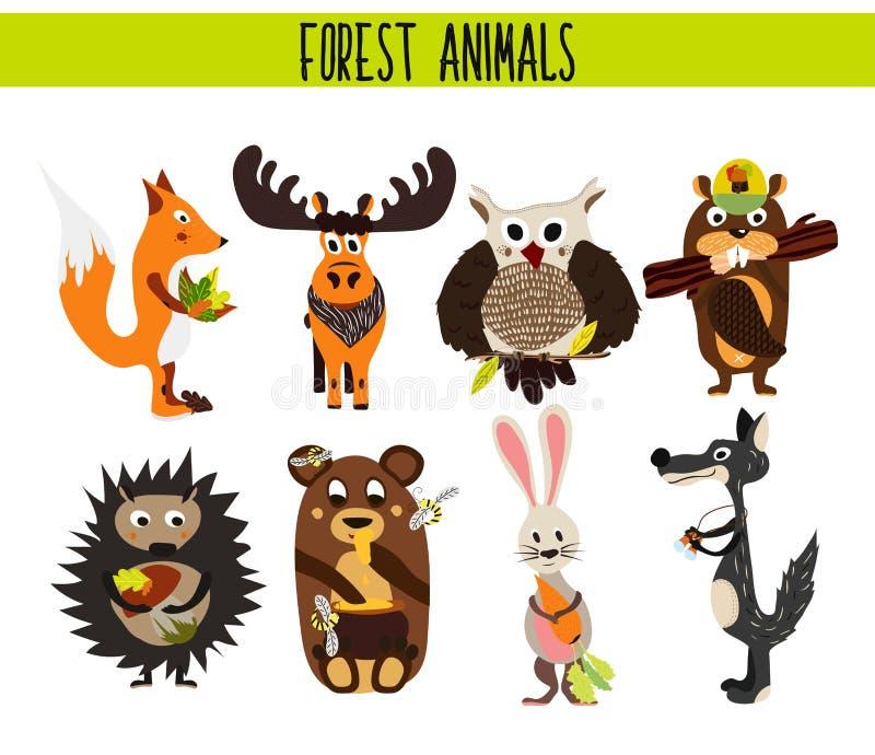 动画片套逗人喜爱的森林地和森林动物麋,猫头鹰,狼, Fox,兔子,海狸,熊,在白色背景隔绝的麋 皇族释放例证