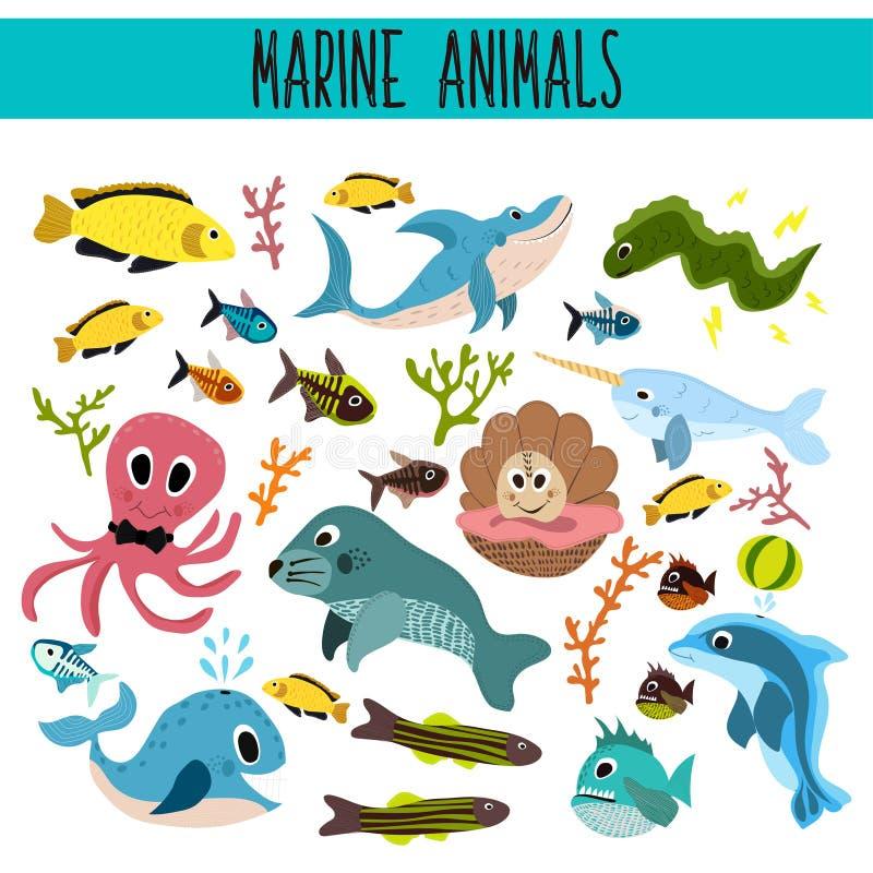 动画片套逗人喜爱的海洋动物和生活水下在海和海洋的水域中 鲨鱼,鱼,比拉鱼,章鱼, mallusk 向量例证