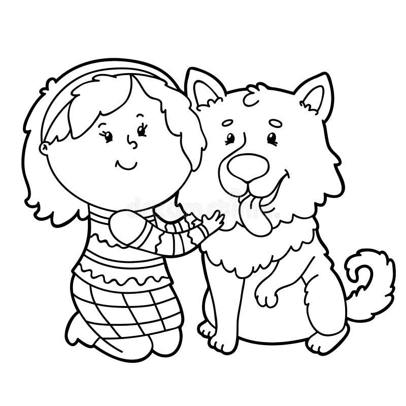动画片女孩和狗 向量例证