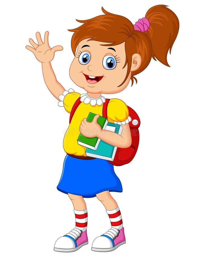 动画片女孩带来书 向量例证