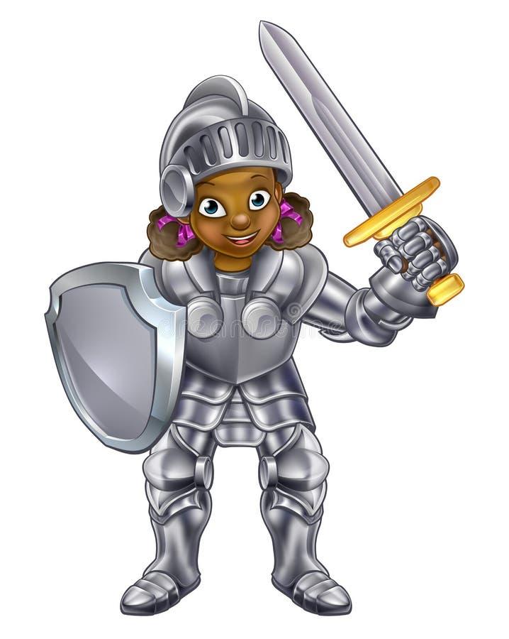 动画片女孩骑士 向量例证