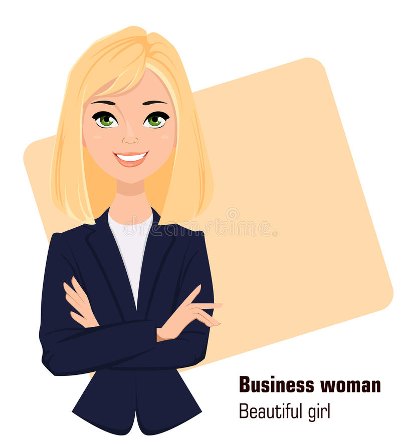 年轻动画片女实业家佩带的企业样式衣物 站立用横渡的手的美丽的女孩 向量例证
