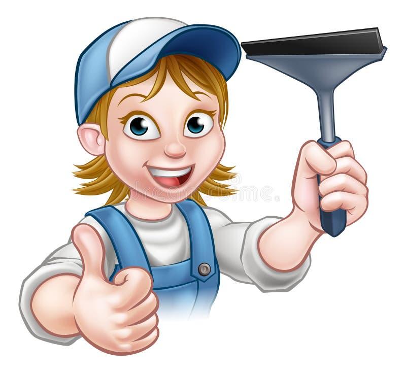 动画片女性风窗清洁器字符 库存例证