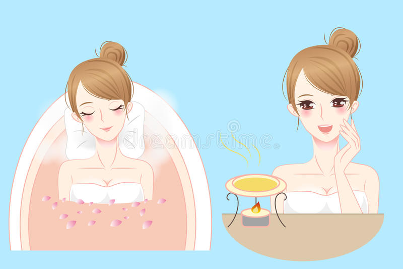 动画片妇女享用做温泉 向量例证