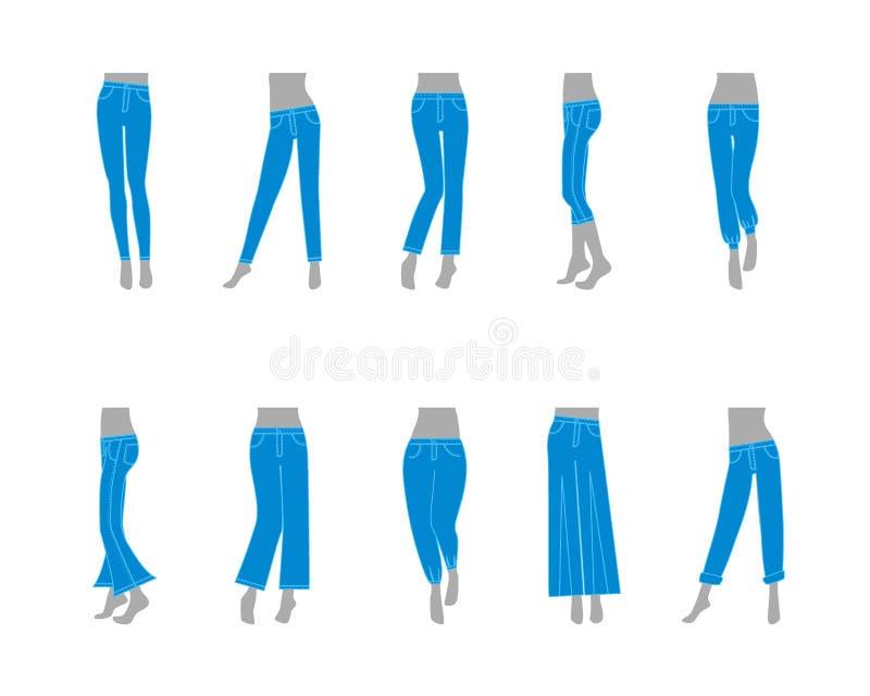 动画片妇女的牛仔裤模型 向量 库存例证