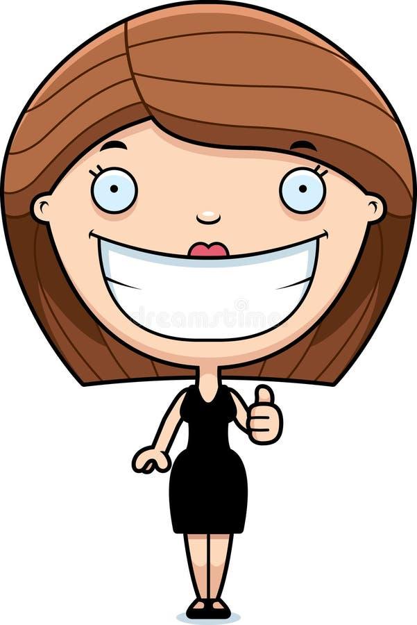 动画片妇女黑色礼服赞许 库存例证