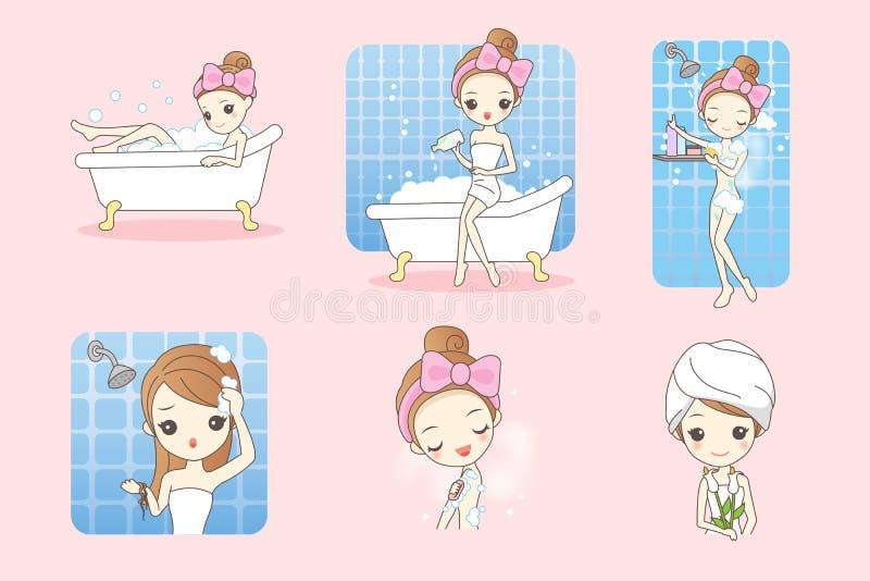 动画片妇女洗浴 库存例证