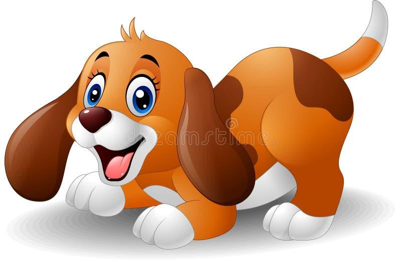 动画片嬉戏的小狗 向量例证