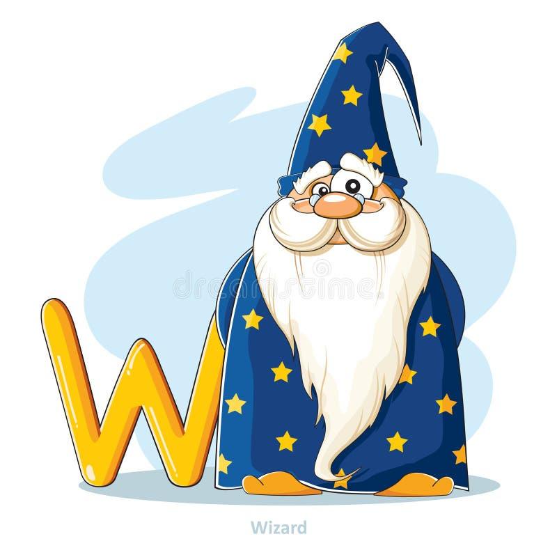 动画片字母表-在与滑稽的巫术师的W上写字 向量例证