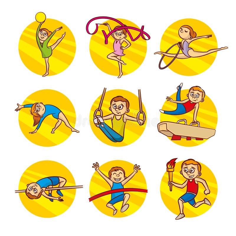 动画片孩子体育集合传染媒介剪贴美术 向量例证
