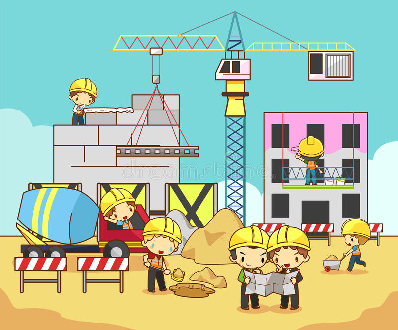 动画片孩子工程师、技术员和劳方工作者工作 库存例证