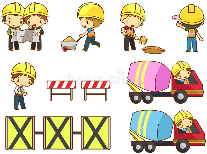 动画片孩子工程师、技术员和劳方工作者工作 皇族释放例证
