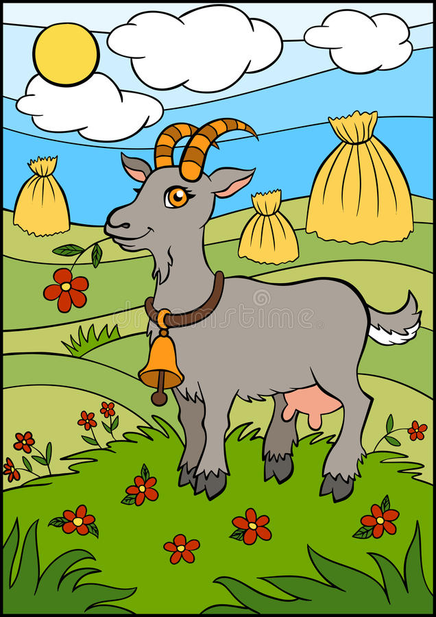 动画片孩子的牲口 逗人喜爱的山羊 库存例证