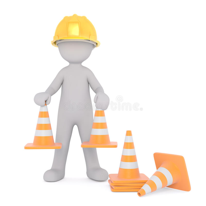 动画片安置安全锥体的建筑工人 库存例证