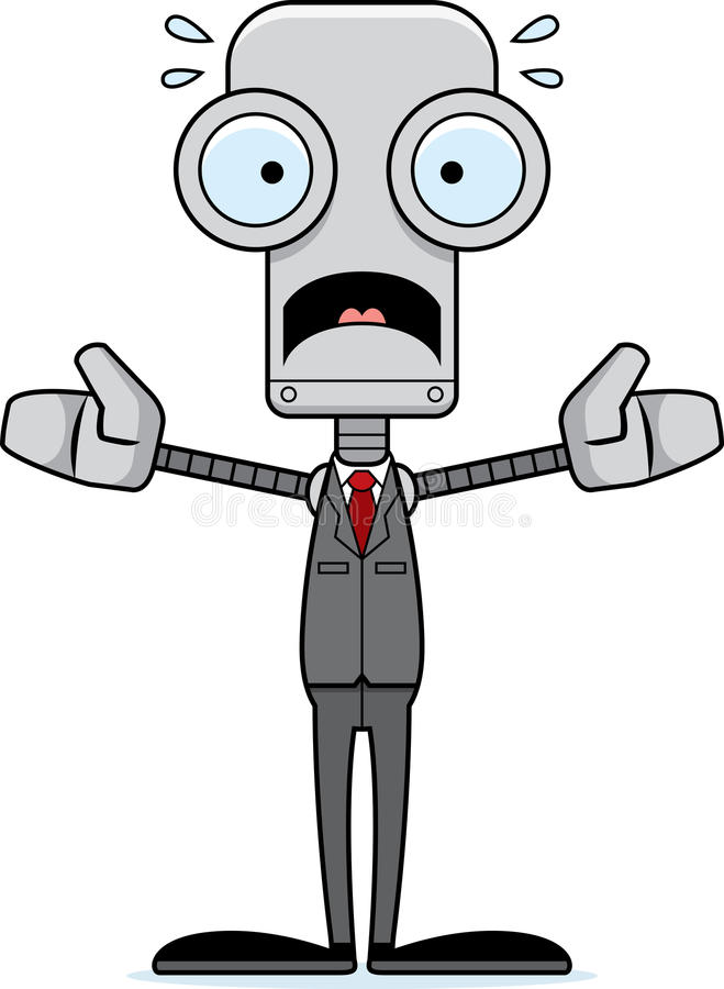 动画片害怕的买卖人机器人 库存例证