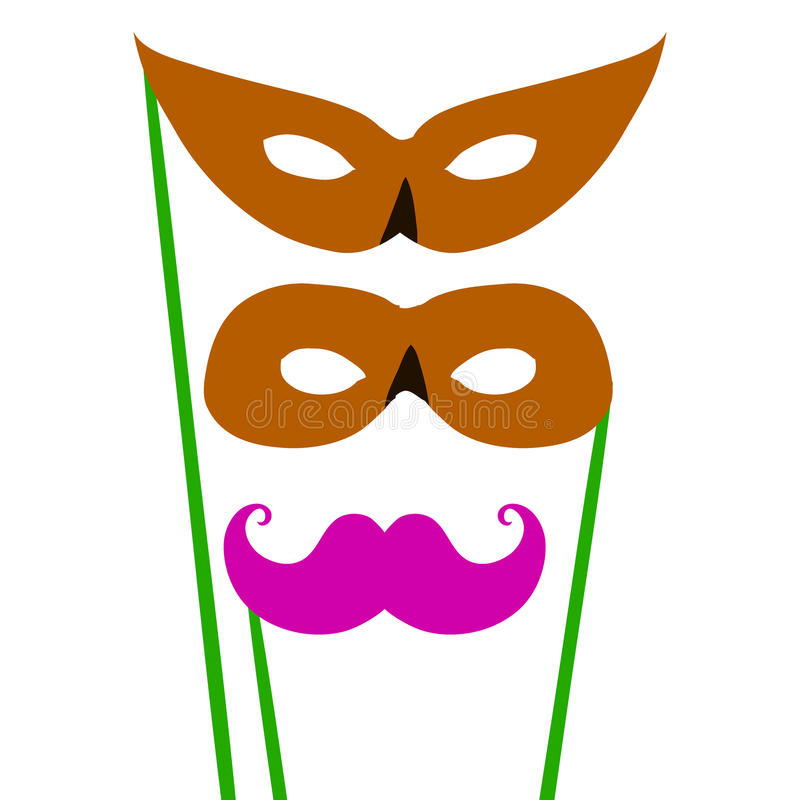 动画片对化妆舞会服装的面具 皇族释放例证
