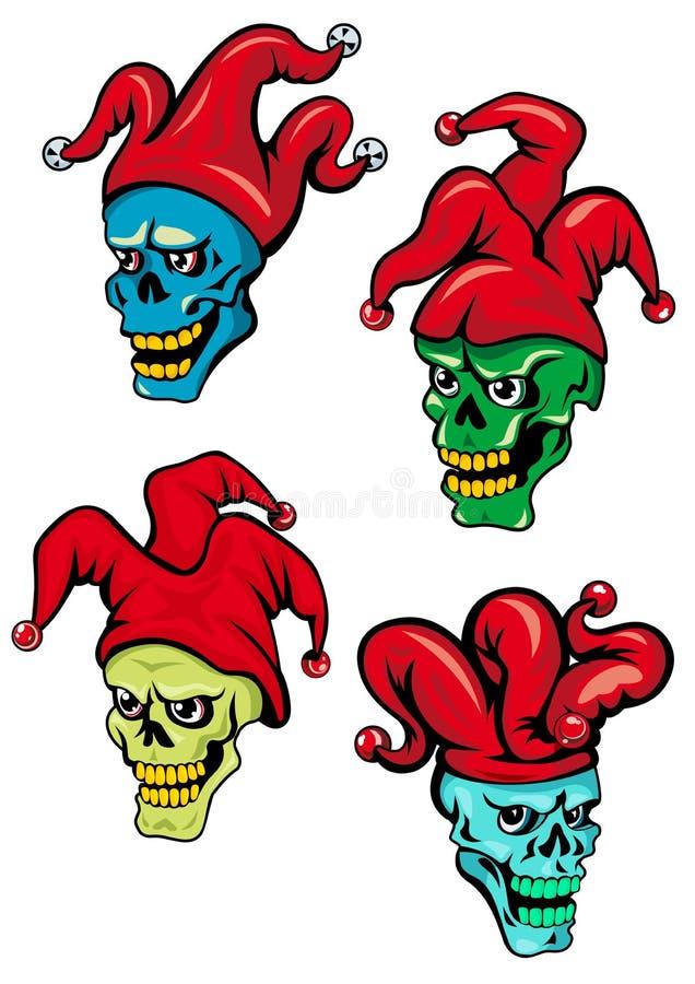 动画片小丑和说笑话者头骨 向量例证