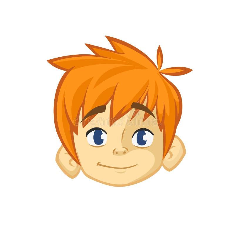 动画片小红色头发男孩 被概述的年轻少年的传染媒介例证 男孩顶头象 库存例证