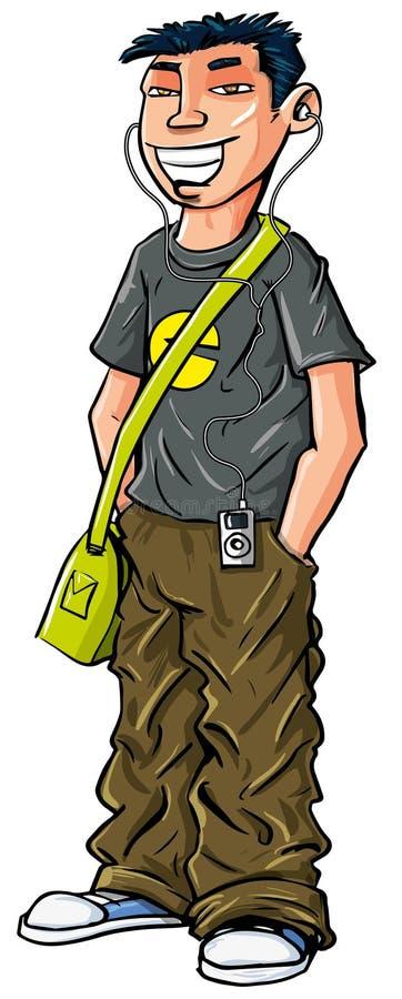 Download 动画片少年亚裔男孩。 库存例证. 插画 包括有 愉快, 少年, 耳机, 茄子, 移动电话, 年轻, 衬衣 - 30335456