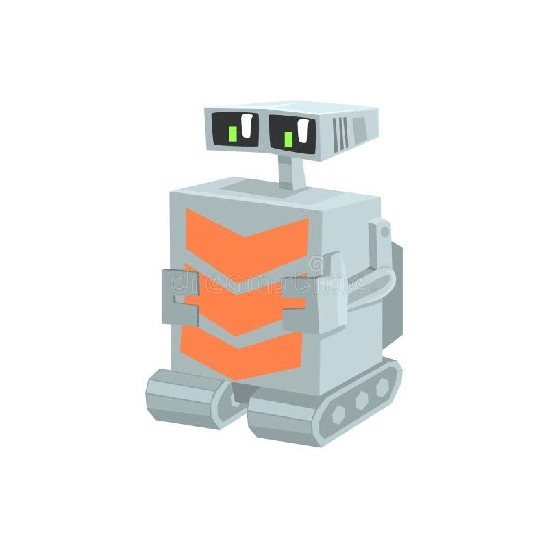 动画片履带牵引装置机器人字符传染媒介例证 库存例证