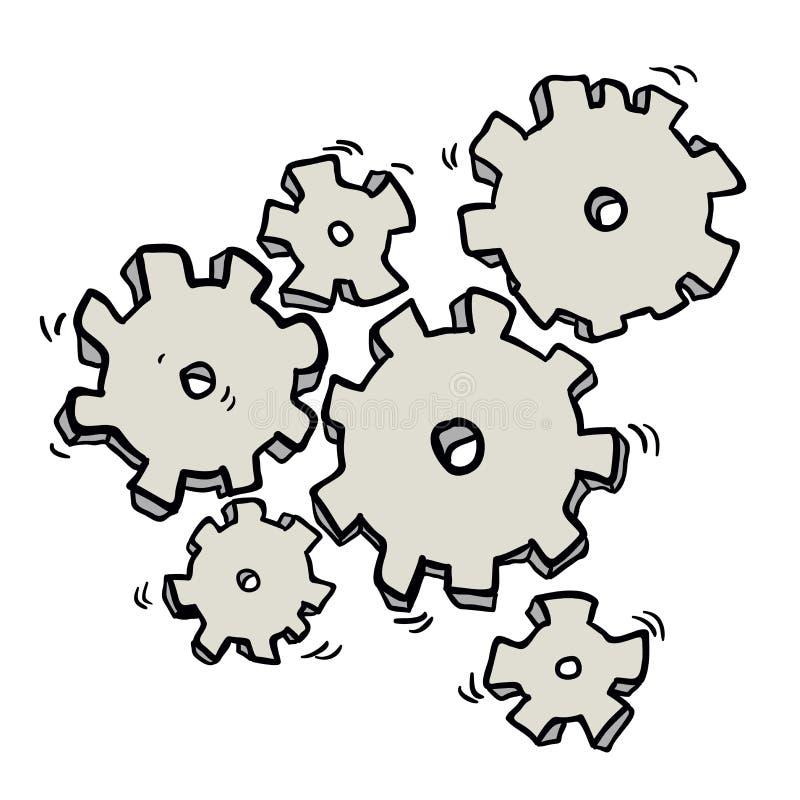 动画片嵌齿轮和齿轮 库存例证