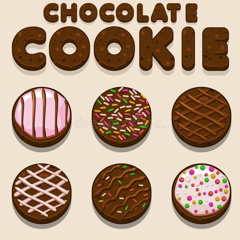 动画片巧克力曲奇饼, biskvit传染媒介食物信件 皇族释放例证