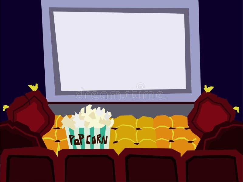 动画片平的戏院大厅内部传染媒介例证 向量例证