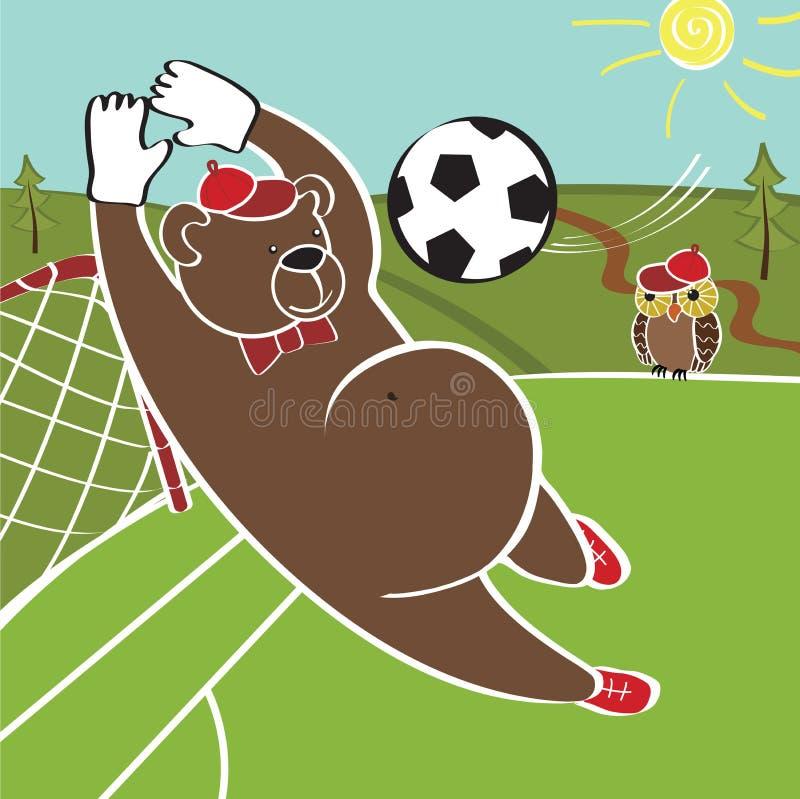动画片幽默例证 棕熊踢橄榄球 皇族释放例证