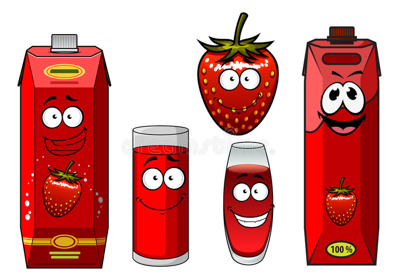 动画片微笑的草莓汁字符 皇族释放例证