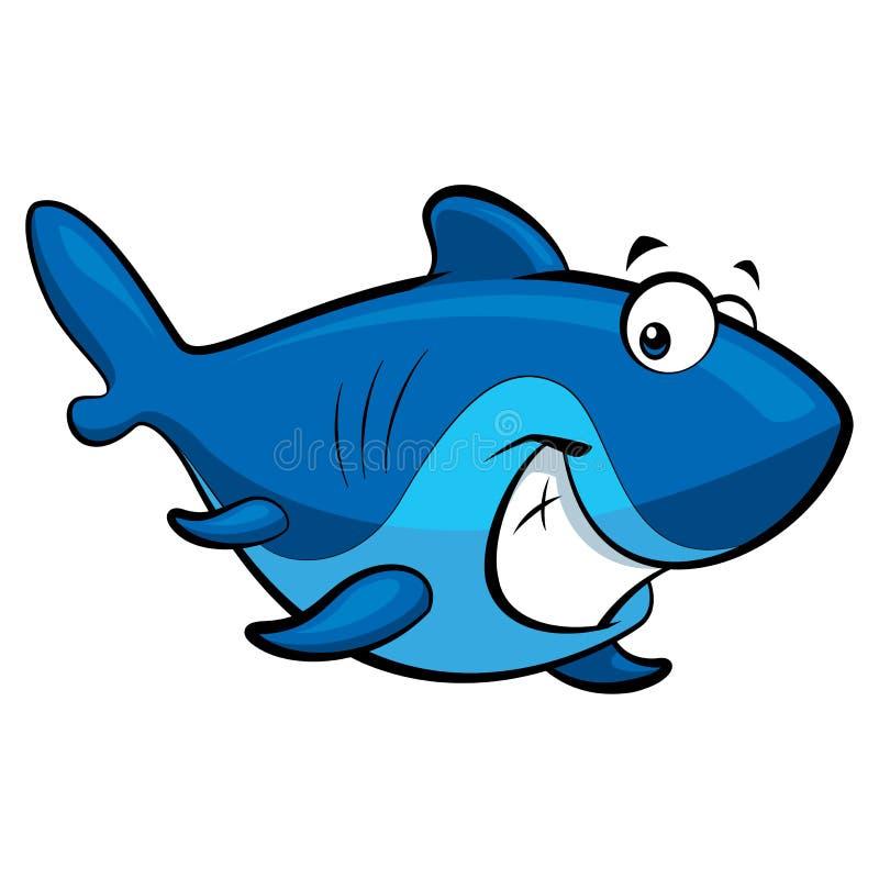 动画片微笑的鲨鱼 向量例证