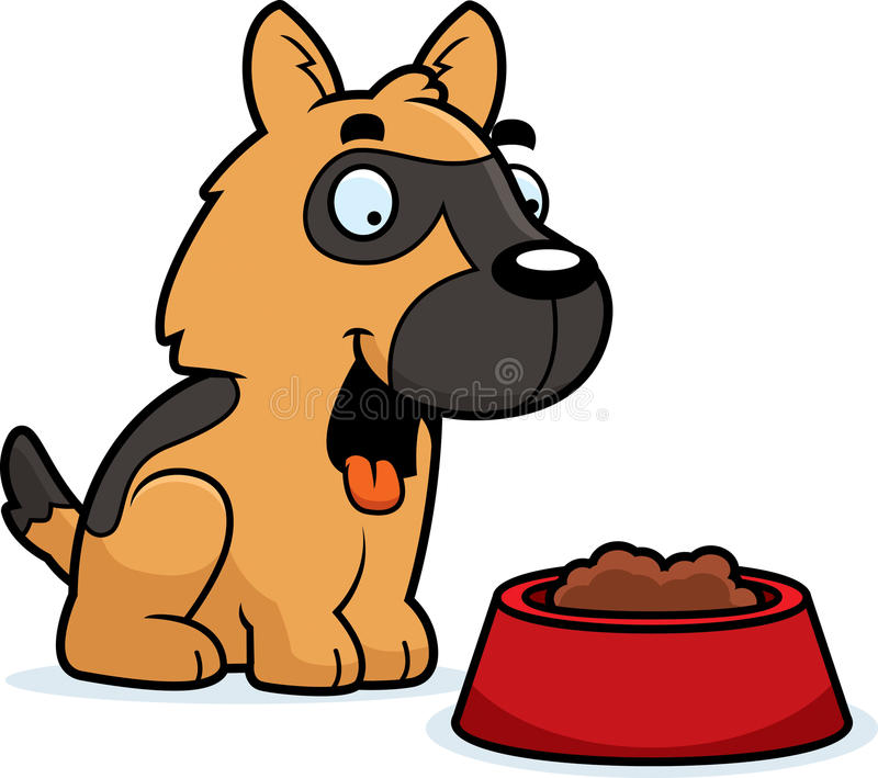 动画片德国牧羊犬食物 库存例证