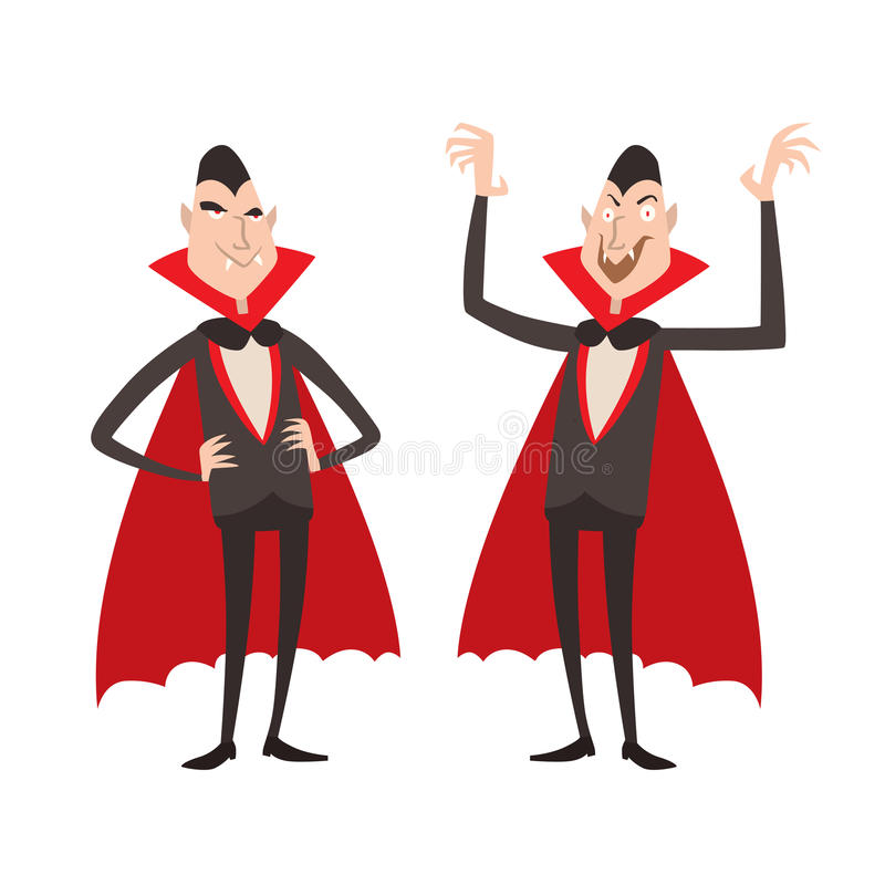 动画片德雷库拉传染媒介标志吸血鬼象字符滑稽的人可笑的万圣夜和魔法咒语巫术鬼魂夜 皇族释放例证