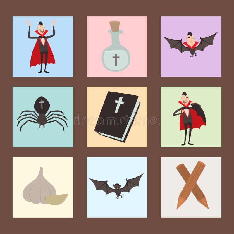 动画片德雷库拉传染媒介棺材标志吸血鬼象字符滑稽的人可笑的万圣夜和魔法咒语巫术鬼魂 库存例证