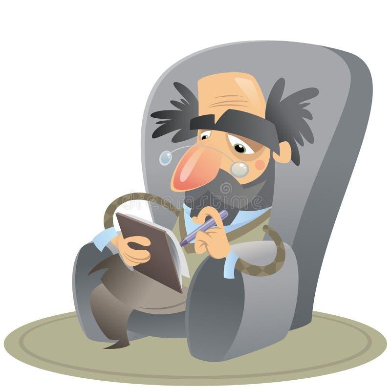 动画片心理学家坐保留笔记的胳膊椅子 向量例证
