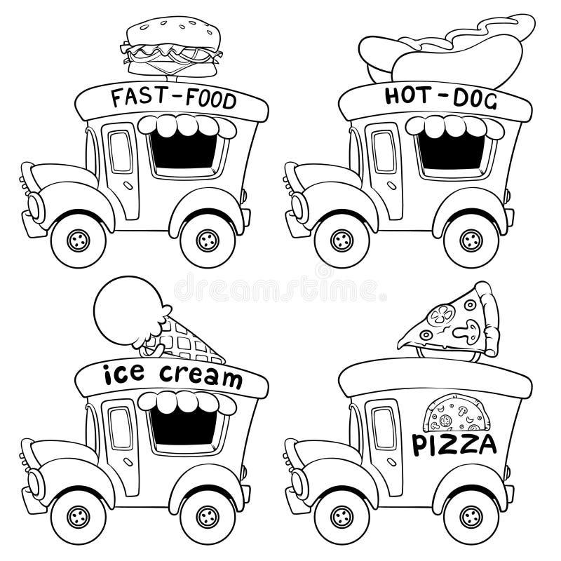 动画片快餐汽车 分级显示 向量例证