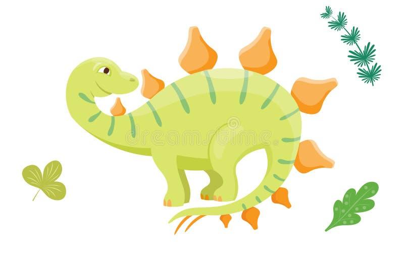 动画片恐龙传染媒介例证妖怪动物迪诺史前字符爬行动物食肉动物的侏罗纪叶子 向量例证