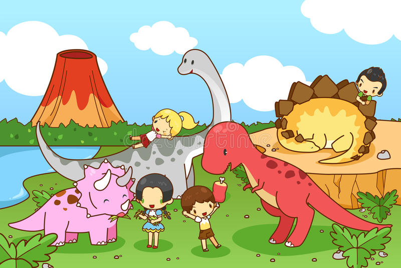 动画片想象力恐龙世界与孩子和儿童pla的 库存例证