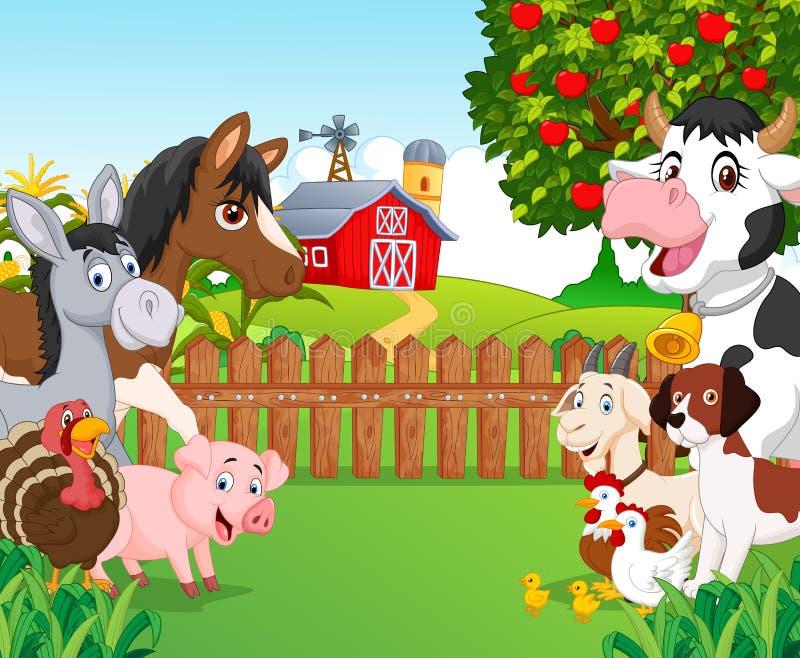 动画片愉快的动物收藏 向量例证