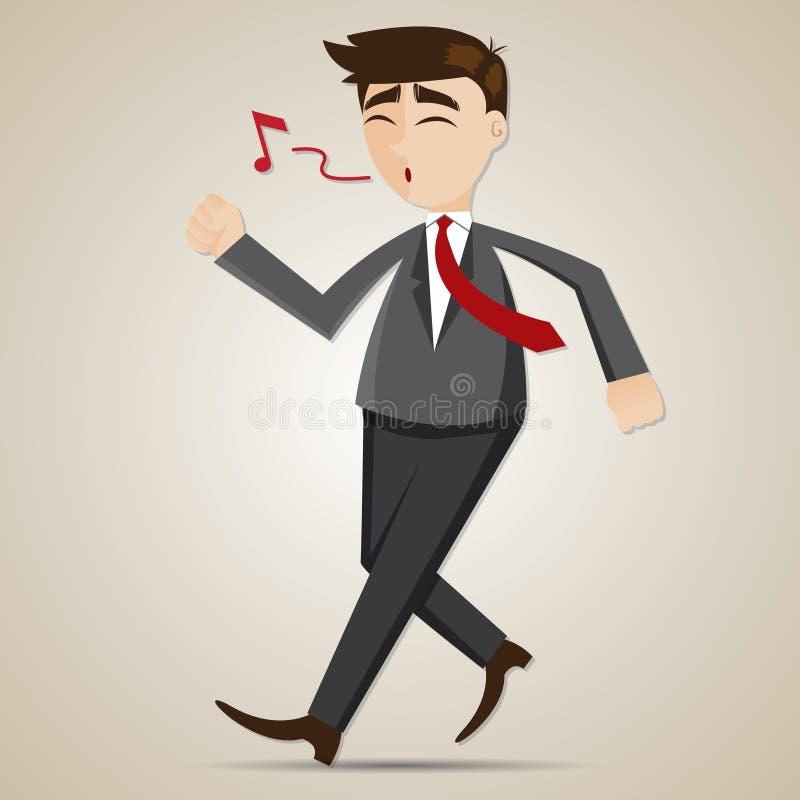 动画片愉快的商人走和吹口哨 向量例证