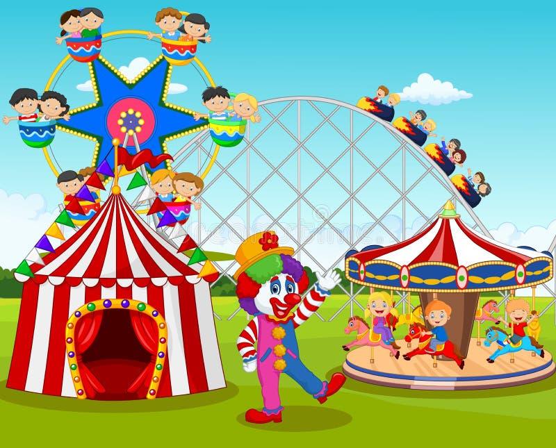 动画片愉快的孩子和小丑在游乐园 库存例证