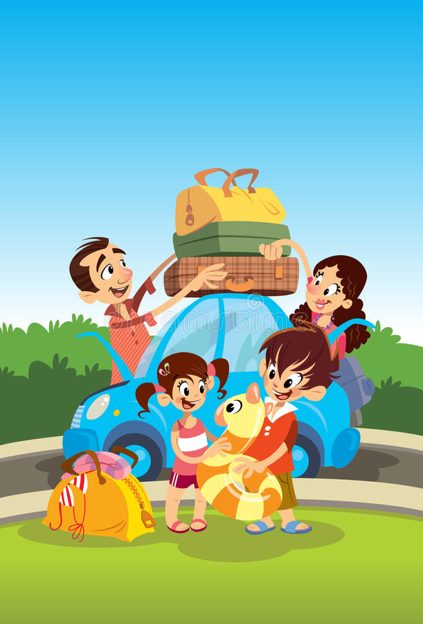 家庭为假期做准备 向量例证