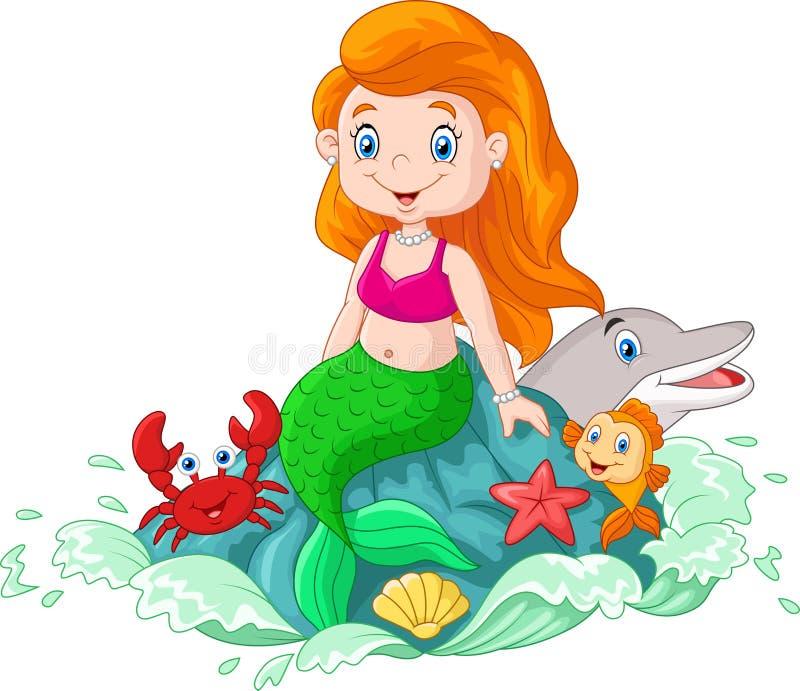 动画片愉快的小的美人鱼坐岩石 向量例证