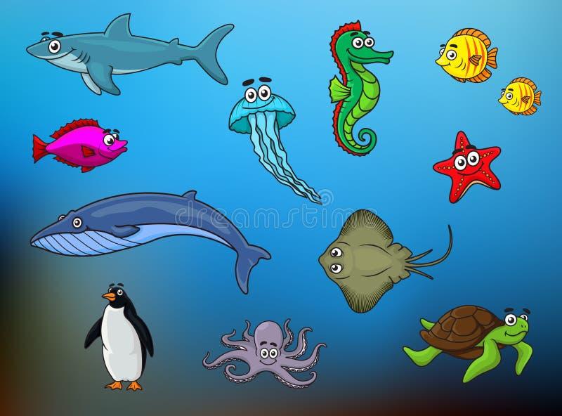 动画片愉快的微笑的海洋动物字符 向量例证
